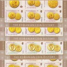 ROMANIA 2006, LP1710a, ISTORIA MONEDEI DE AUR MINICOLI 7 TIMBRE + 2VG. MNH - Timbre Romania, Nestampilat