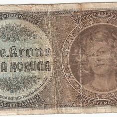 BOHEMIA BOEMIA SI MORAVIA 1 COROANA KORUNA 1940 U - bancnota europa