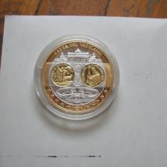 Moneda medalie Vatican, argint 999, placata cu aur, Europa, An: 2002