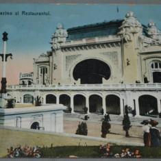 CONSTANTA - Cazino (Cazinoul) si Restaurantul - circulata 1914 - Carte Postala Dobrogea 1904-1918, Fotografie