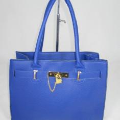 Geanta dama albastra Hermes+CADOU, Culoare: Din imagine, Marime: Mare, Geanta de umar, Albastru, Asemanator piele