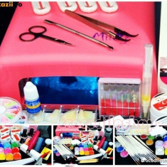Kit Unghii false Fraulein38 SET MANICHIURA CU GEL lampa uv, 4 GEL CCN +++ 12 GEL COLOR