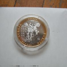 Moneda medalie Spania, argint 999, placata cu aur, Europa, An: 2002
