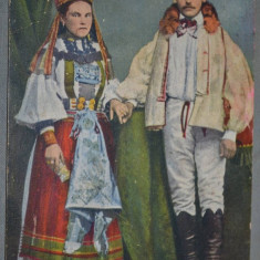 Tipuri de maghiari din Transilvania - Tineri casatoriti romani. - Carte postala tematica, Circulata, Fotografie