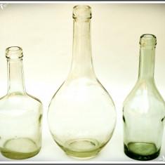 LOT 3 STICLE VECHI ROMÂNEȘTI PT. BĂUTĂRĂ, SE AFLĂ ÎN STARE BUNĂ, FĂRĂ CIOBITURI! - Sticla