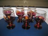 Set 6 Pahare vechi bautura vin, tuica pictate cu flori, stare buna.