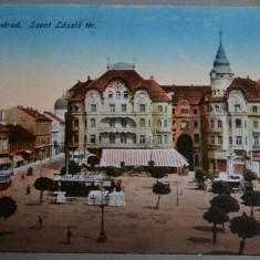 ORADEA (Nagyvarad) - Piata Sfantul Laszlo (Szent Laszlo ter) - 1918 - tramvai, Necirculata, Fotografie