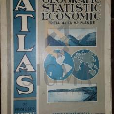 N. GHEORGHIU (PROFESOR) - ATLAS GEOGRAFIC, STATISTIC SI ECONOMIC PENTRU CURSUL SECUNDAR (1933-ROMANIA MARE) - Carte de colectie