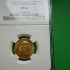 20 LEI 1883 AUR NGC MS 61 - Moneda Romania