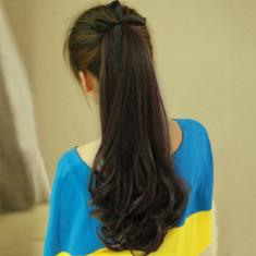 PER57 Coada ponytail, saten inchis, cu fundita atasata - Peruca Dama