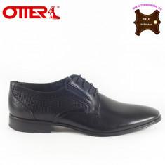 Pantofi barbati piele naturala OTTER negru (Marime: 44) - Pantof barbat Otter, Casual