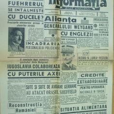 Informatia 15 decembrie 1940 reconstructie Romania Horia Sima Chisinau Balti - Ziar