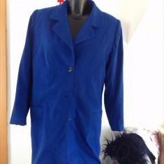 Palton dama, tip sacou lung, marimea M, albastru ecletic, vintage!, Marime: M/L, Bumbac