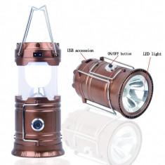 FELINAR + Lanterna solara 6+1 LED LAMPA pliabila CAMPING PESCUIT 220V USB 5V