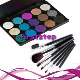 Oferta truse machiaj profesionale 15 culori MAC + set 7 pensule make up Megaga - Trusa make up