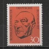 Germania.1968 1 an moarte C.Adenauer-cancelar SG.288 - Timbre straine, Nestampilat