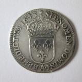 RARA! FRANTA 1/12 ECU(10 SOLS) 1643 A ARGINT VARIANTA TRANDAFIR LOUIS XIII