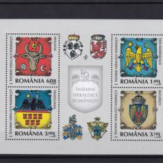 ROMANIA 2008, LP 1816 b, INSEMNE HERALDICE ROMANESTI BLOC MNH - Timbre Romania, Nestampilat