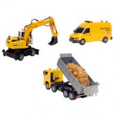 Set 3 masini excavator camion si duba - Construction Team 3414928 Dickie - Vehicul