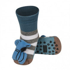 Ciorapei cu talpa antiderapanta - Blue little zebra