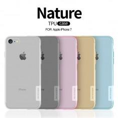 Husa iPhone 7 TPU Nature by Nillkin Gold - Husa Telefon Nillkin, iPhone 7/8, Transparent, Gel TPU, Fara snur, Carcasa