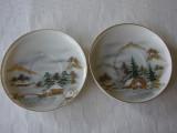 Doua farfurioare din portelan japonez coaja de ou - pictate manual