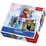 Puzzle Frozen - Anna, Elsa, Kristoff si Olaf 3 in 1 Trefl