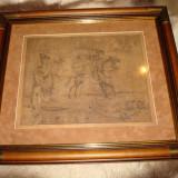 Grafica originala de MARCEL CHIRNOAGA executata pe piele. Rama lemn masiv - Pictor roman, Scene gen, Cerneala, Realism