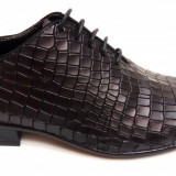 Pantofi barbati lux - eleganti din piele naturala negri - cod 024CROCO2N - Pantof barbat, Marime: 38, 39, 40, 42, Culoare: Negru