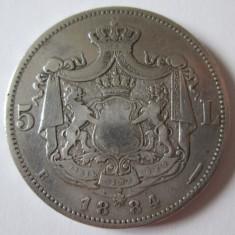 RARA! MONEDA 5 LEI 1884 ARGINT MUCHIE CU 6 STELE IN STARE BUNA/FOARTE BUNA - Moneda Romania