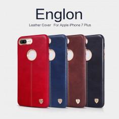 Husa iPhone 7 Plus Englon Leather Cover by Nillkin Neagra - Husa Telefon Nillkin, Negru, Piele Ecologica, Fara snur, Carcasa