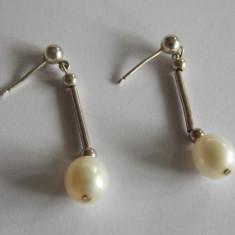 Cercei de argint cu perle naturale - 375 - Cercei perla