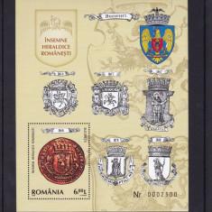 ROMANIA 2008, LP 1817, INSEMNE HERALDICE ROMANESTI COLITA DANTELATA MNH - Timbre Romania, Nestampilat