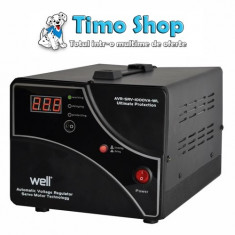 Stabilizator automat de tensiune cu servo motor 1000VA/600W Well AVR-SRV-1000VA-WL - Stabilizator tensiune