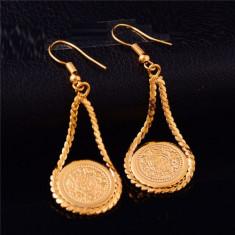Superbi cercei 9K gold filled model arabesc cu banuti - Cercei placati cu aur
