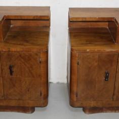 Set Vintage 2 Noptiere mari, Stil Art Deco Romanesc; Dulap; Comoda, Comode si bufete, 1900 - 1949