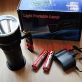 Lanterna metalica reincarcabila cu maner, LED + 2x acumulator LiIon 18650