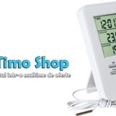 Termometru fără fir pentru interior şi exterior cu ceas HC 12