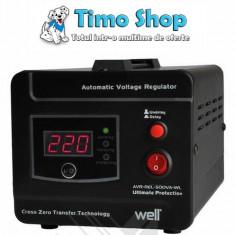 Stabilizator automat de tensiune cu releu - 500VA/300W Well AVR-REL-500VA-WL - Stabilizator tensiune
