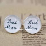Butoni tema nunta BEST MAN + cutie simpla cadou