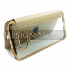 HUSA LG G5 TOC FLIP COVER TIP CARTE PREMIUM GOLD - Husa Telefon, Auriu, Piele Ecologica, Cu clapeta