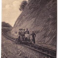 Calea ferata cu cremaliera Caransebes--Hateg, Boutari Zeicani, drezina, ADLER 1909 - Carte Postala Banat 1904-1918, Circulata, Printata