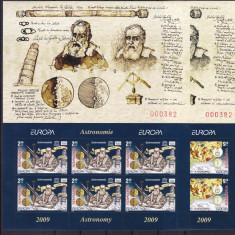 ROMANIA 2009, LP 1832 a, EUROPA ASTRONOMIE MINICOLI 6 TIMBRE CU MANSETA MNH - Timbre Romania, Nestampilat
