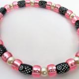 Colier perle albe margele roz negre accesorii animale caine catel pisica femela