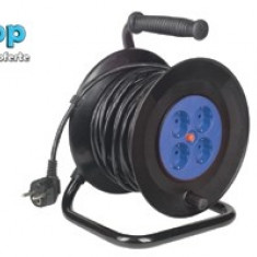 Prelungitor cu tambur 50 m cablu electric HJR 4-50 - Cablu si prelungitor