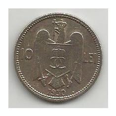 ROMANIA CAROL II, 10 LEI 1930 HEATON [1] livrare in cartonas - Moneda Romania, Alama