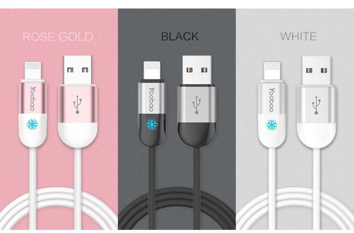 Cablu 8 Pin Lightning iPhone 5 5C 5S 6 6S 6/6S Plus YB-417 Gri Yoobao 1m
