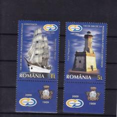 ROMANIA 2009 LP 1853 d 100 ANI PORTUL CONSTANTA SERIA CU TABS MNH - Timbre Romania, Nestampilat