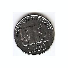 Vatican 100 Lire 1992 - Ioannes Pavlvs II, 18, 3 mm KM-239 UNC!!!, Europa
