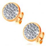 Cercei cu șurub din aur 585 - cerc cu cristale Swarovski încrustate